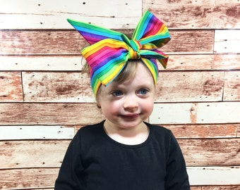 Rainbow Headwrap- Headwrap; Rainbow Headband; Rainbow Bow; Toddler Headband; Toddler Headwrap; Baby Head Wrap; Baby Headband; Baby Turban