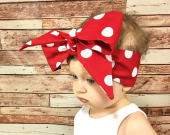 Red Dottie Headwrap- Red Headband; Polka Dot Headband; Red Headwrap; Polka Dot Headwrap; Red Bow; Polka Dot Bow; Big Bow Headwrap; Baby Bows