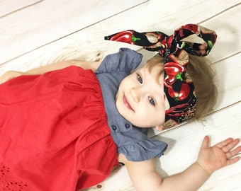 Salsa Picante Headwrap- Headwrap; Salsa Head Wrap; Big Bow; Baby Head Wraps; Mommy and Me Headwrap; Baby Headband; Baby Headwrap; Head Wrap