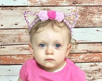Cat Ears- Kitty Headband; Felt Flower Headband; Baby Headband; Baby Girl Headband; Girls Headband; Baby Felt Flower Headband; Cat Headband