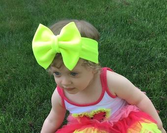 Neon Yellow Bow Headband- Neon Bow; Neon Headband; Neon Headwrap; Baby Headband; Baby Headwrap; Toddler Headwrap; Big Bow Headband; Big Bow