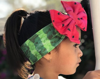 Organic Cotton Headband- Watermelon Bow; Watermelon Headband; Watermelon Headwrap; Baby Headband; Baby Headwrap; Toddler Headwrap; Big Bows