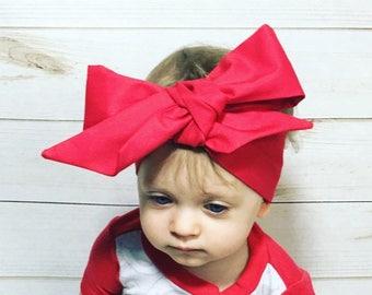 Red Headwrap- Headwrap; Red Head Wrap; Red Headband; Red Bow; Valentine's Day Headband; Christmas Headand; Valentine's Day Bow; Holiday Bows