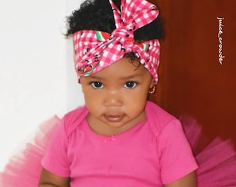 Watermelon Headwrap- Watermelon Headband; Watermelon Bow; Watermelon Head Wrap; Mommy and Me Headbands; Matching Headbands; Toddler Bows