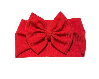 Red shimmer bow headwrap fabric stretch head wrap Christmas red headwrap baby bow big bow newborn bpw toddler bow