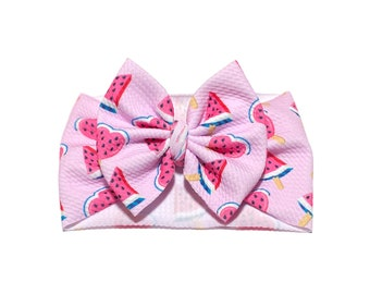 Watermelon Head wrap bow Head wrap knot Bow on nylon Clip on bow Butterfly bow Pigtails