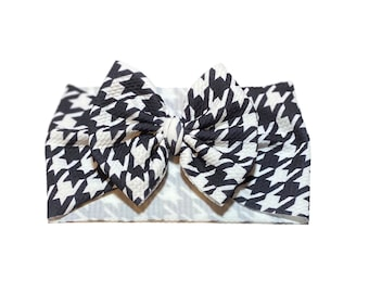 Houndstooth Barrette Black White Houndstooth Headband 3 Houndstooth Clip Houndstooth Pigtail Houndstooth Hair Bow Pattern Hair Bow