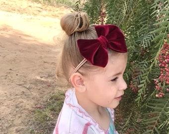 Velvet Burgundy Headband- Velvet Bow; Velvet Hair Bow; Velvet Nylon Headbands; Burgundy Headband; Burgundy Bow; Burgundy Hair Bow; Baby Bows
