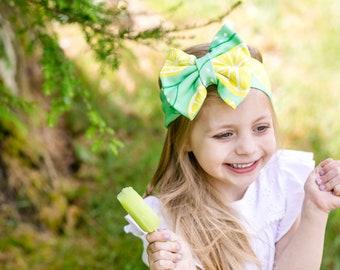 Organic Cotton Headband- Lemon Bow; Lemon Headband; Lemon Headwrap; Baby Headband; Baby Headwrap; Toddler Headwrap; Big Bows; Bow Headband