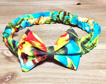 Tropical Headband- Tropical Bow Headband; Tropical Bow; Baby Headbands; Baby Girl Bow Headband; Baby Headband; Baby Girl Headband; Baby Bow