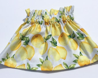 Lemon Skirt- Lemon Headband; Baby Skirt; Lemon Bow; Toddler Skirt; Ruffle Skirt; High Waist Skirt; Lemon Headwrap; Lemon Outfit; Lemonade