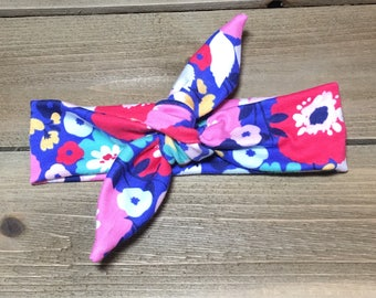 Flower Headband- Baby Headband; Tie Knot Headband; Baby Head Wrap; Girls Headbands; Jersey Headbands; Top Knot; Toddler Headband; Tie Knot
