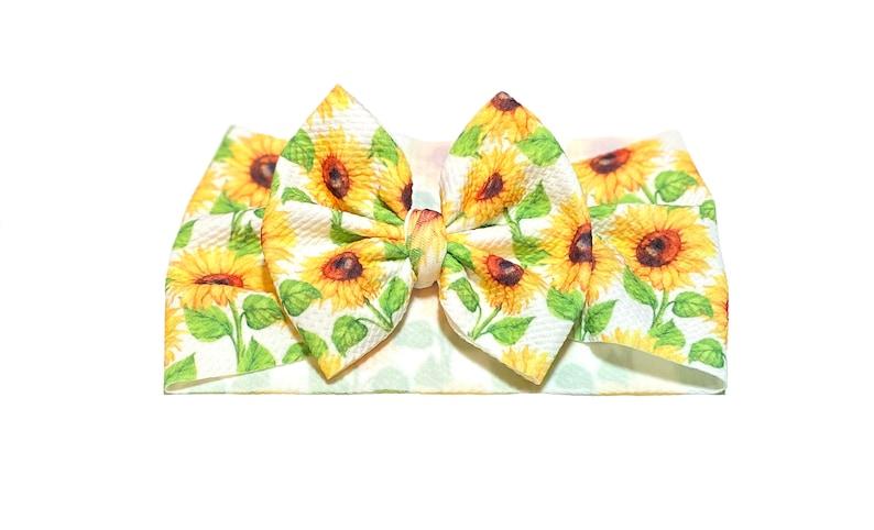 Sunflower Stretchy Headwrap Baby Head Wrap; Baby Headband; Sunflower Headband; Sunflower Bow; Baby Headwrap; Big Bow Headband; on white