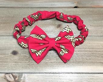 Wonder Woman Headband- Wonder Woman Bow Headband; Wonder Woman Bow; Wonder Woman Gift;  Wonder Woman Headpiece; Bow Headband; Wonder Woman