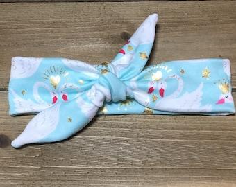 Swan Headband- Baby Headband; Tie Knot Headband; Baby Head Wrap; Girls Headbands; Jersey Headbands; Top Knot; Toddler Headband; Tie Knot