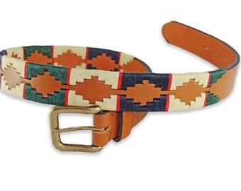 Polo Belt Multicolor Beige - Argentina belt - traditional leather belt