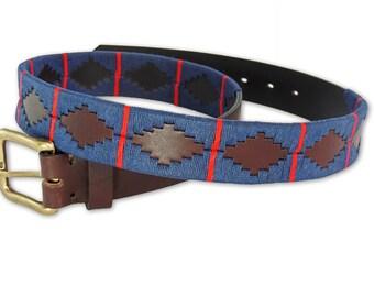 Polo Belt Blue Brown - Argentina belt - traditional leather belt