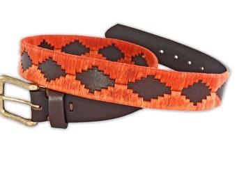 Polo Belt Orange Brown - Argentina belt - traditional leather belt