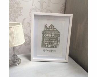 Custom Personalised A4 Home Print