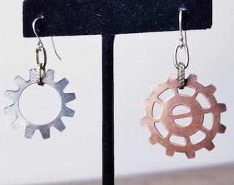 Handmade Gear & Bronze Link Earrings