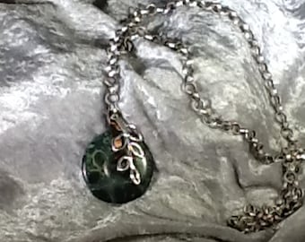 Green  Jasper and chain necklace