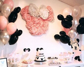 LUCK COLLECTION Minnie Mouse Party Decorations Supplies Pink Ears Birthday Banner Garland For Girls 1st