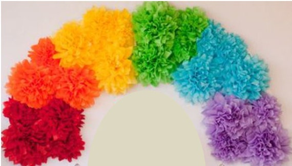 Pom rainbow kit tissue paper flower pom pom rainbow etsy image 0 mightylinksfo