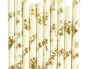 Princess Straws | Gold Princess Paper Straws | Disney Princess Party Supplies