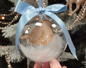 Personalised signpost ornament bauble with Robin