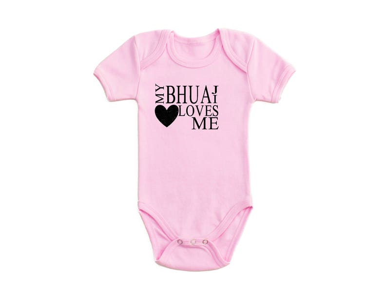 My Bhuaji Loves Me Heart Design Short Sleeve Baby Bodysuit Etsy