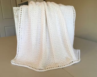 Crocheted Waffle Stitch Baby Afghan -White