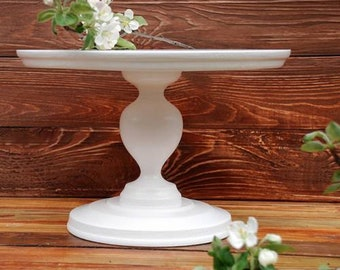 """6""""-18"""" inches Wedding Cake Stand, Rustic cake stand, Wooden cake stand, Large cake stand, Wedding white pedestal, White cake stand, pedestal"""