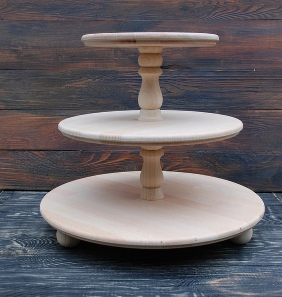"""Trois niveaux rustique en bois Gâteau de Mariage//Cup Cake Stand 16/""""//17/"""" Base"""