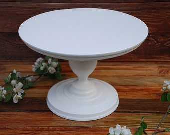 """8"""" 10"""" 12"""" 14"""" 16"""" 18"""" Cake Stand,Rustic cake stand,Wooden Wedding cake stand,Large cake stand,Wedding white pedestal,White Dessert stand"""