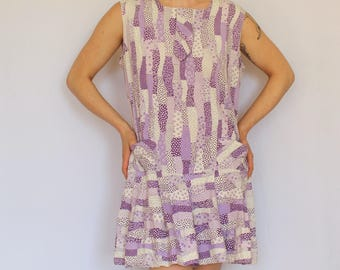 Vintage 60s Purple and White Sleeveless Skort Dress / 1960s Mod Floral Patchwork Print Scooter Dress with Front Pockets and Built in Shorts