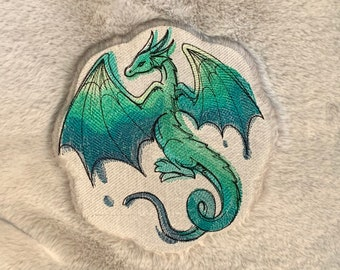"""Watercolor Sketch Dragon """"Stronger Than You Know"""" Embroidered 20"""" x 20"""" Plush Pillow Cushion Cover"""