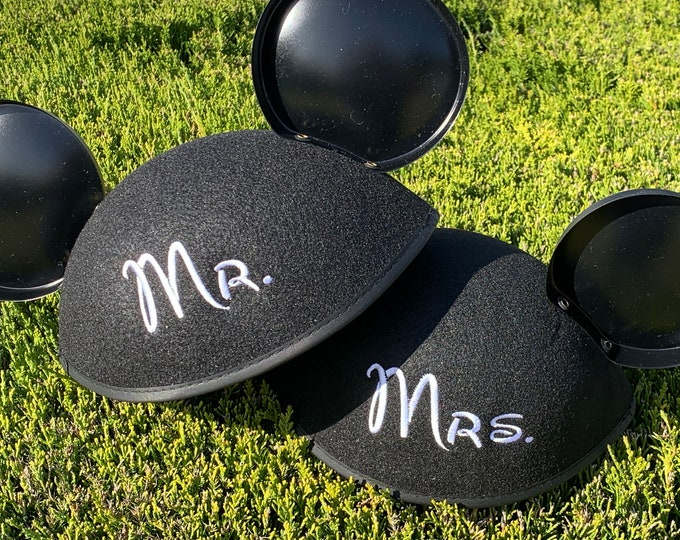 Set of Mr. and Mrs. / Bride and Groom / Ms. / Dr. Mouse Ear Hats for Engagement, Wedding, Honeymoon or Announcements