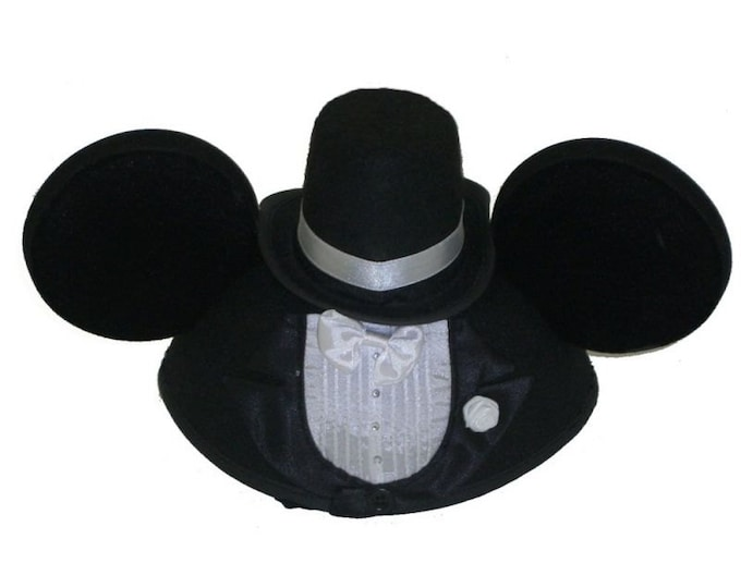 Personalized Mickey Mouse Tuxedo Groom Ear Hat
