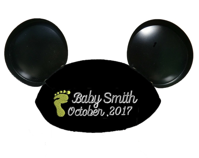 Baby Footprint Script Personalized Black Mouse Ear Hat for Baby Announcement, Baby Shower, New Baby, Gender Reveal