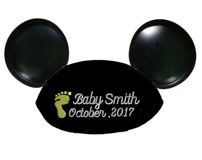 Baby Footprints Personalized Black Mouse Ear Hat for Baby Announcement, Baby Shower, Birthday, New Baby, Birth Announcement, Surprise