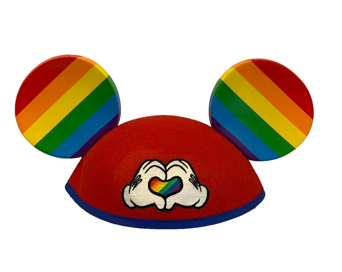 Personalized Rainbow Pride Love Mickey Mouse Ear Hat
