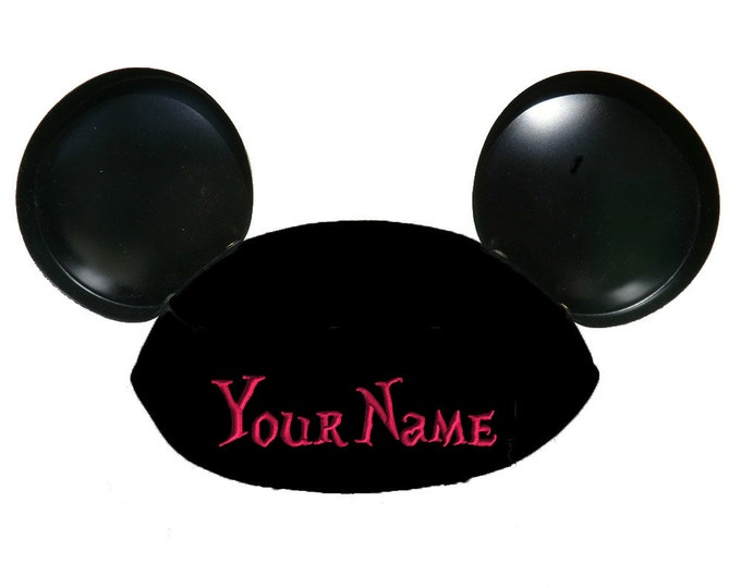 Alice in Wonderland Font Personalized Black Mouse Ear Hat with Your Name