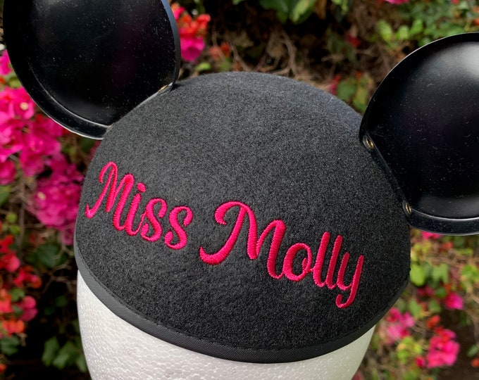 Pretty Script Personalized Mouse Ear Hat with Your Name