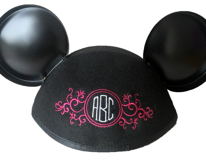 Floral Circle Monogram Black Mouse Ear Hat Personalized with Your Initials