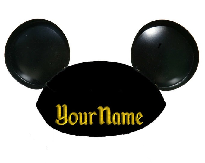Theme Park Font Personalized Black Mouse Ear Hat with Your Name