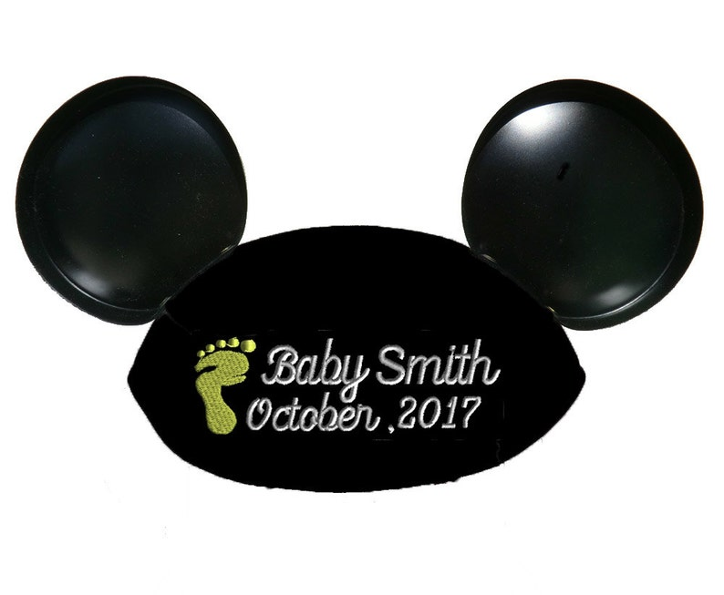 Baby Footprint Script Personalized Black Mouse Ear Hat for image 0