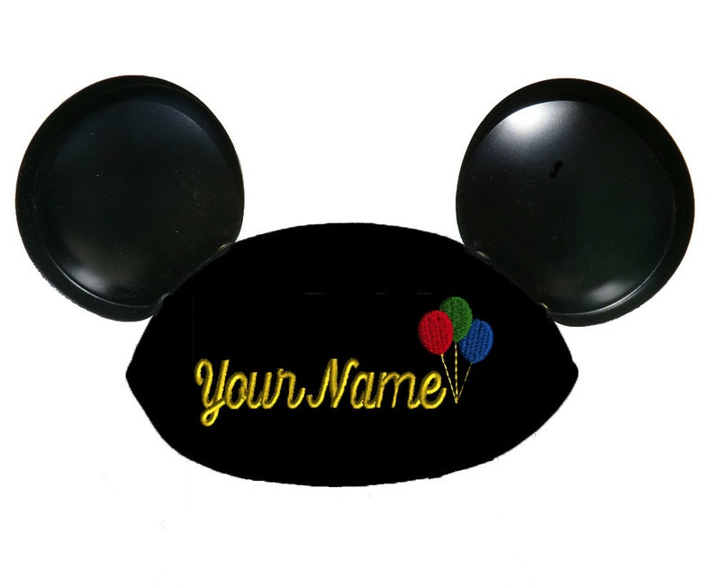 Black Mouse Ear Hat Personalized with Balloons and Your Name image 0