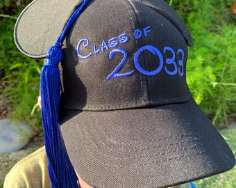Child Graduation Mickey Mouse Baseball Cap with Tassel for Kindergarden or Preschool Graduation