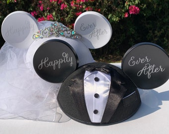 NEW Personalized Bride and Groom Ear Hat Set