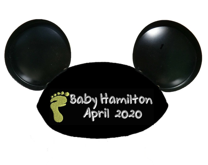 Baby Footprint TB Personalized Black Mouse Ear Hat for Baby Announcement, Baby Shower, New Baby, Gender Reveal